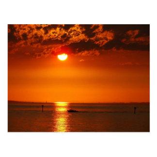 Sunset at the lake - postcard