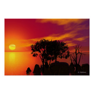 Sunset At The Lake Print