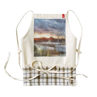 Sunset at the Marina Zazzle HEART Apron