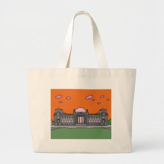 Sunset at the Reichstag building in Berlin Large Tote Bag