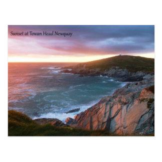 Sunset at Towan Head Newquay Cornwall England Postcard
