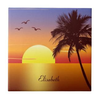 Sunset at tropical beach tile