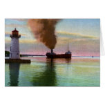Sunset at Upper Light, Sault Ste. Marie, MI 1909 Greeting Card
