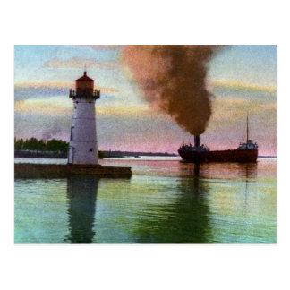 Sunset at Upper Light, Sault Ste. Marie, MI 1909 Postcard