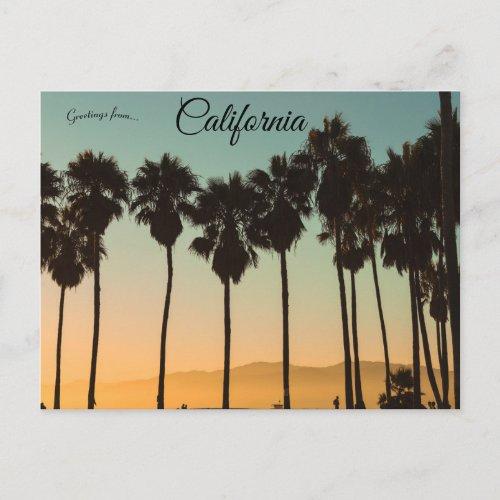 Sunset at Venice Beach Los Angeles California Postcard