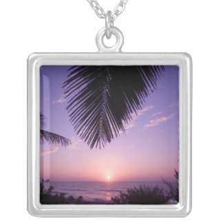 Sunset at West End, Cayman Brac, Cayman Islands, Silver Plated Necklace