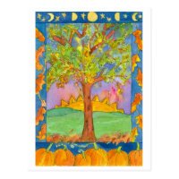 Sunset Autumn Trees Watercolor Landscape Painting Postcard