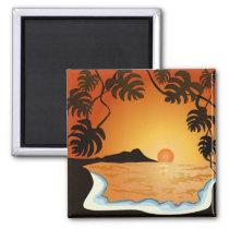 sunset, beach, hawaii, miami, tropical, sunrise, summer, oringe, illustration, art, design, ocean, nature, landscape, beaches, Ímã com design gráfico personalizado