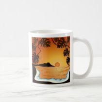 sunset, beach, hawaii, miami, tropical, sunrise, summer, oringe, illustration, art, design, ocean, nature, landscape, beaches, Mug with custom graphic design