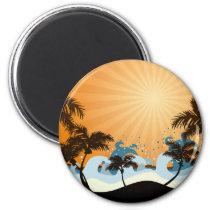 sunset, beach, hawaii, tropical, art, design, illustration, summer, nature, graphic, palm, wave, sunrise, landscape, colorful, illustrations, Ímã com design gráfico personalizado