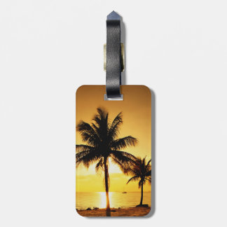 Sunset Beach and Palm Trees Luggage Tag