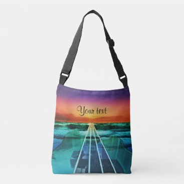 Beach Themed Sunset Beach Bass Guitar Music Tote Bag