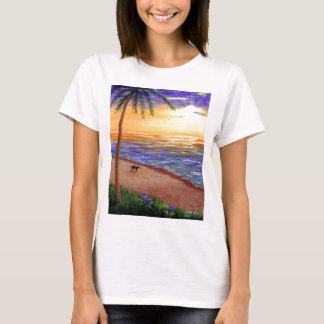 Sunset Beach Black Lab Dog by Creationarts T-Shirt