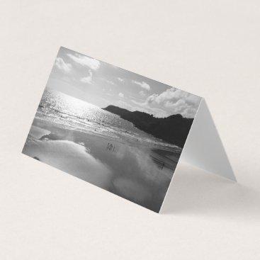 Beach Themed Sunset Beach (Black & White) - Tent Card RBDStore