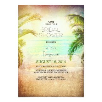Sunset beach bridal shower invitations