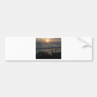"""Sunset Beach"" by Lewis Evans Bumper Sticker"