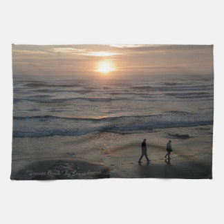 """Sunset Beach"" by Lewis Evans Towel"