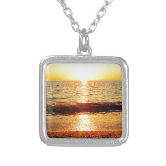 Sunset beach, Cape May NJ Silver Plated Necklace