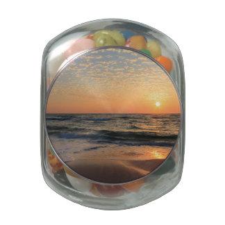 Sunset, Beach, & Clouds Glass Jars
