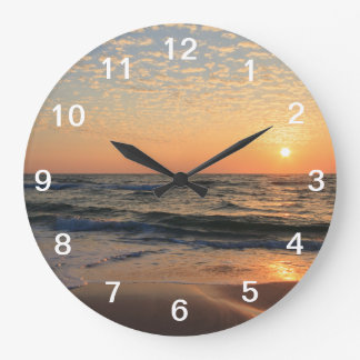 Sunset, Beach, & Clouds Large Clock
