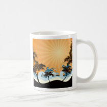 sunset, beach, hawaii, tropical, art, design, illustration, summer, nature, graphic, palm, wave, sunrise, landscape, colorful, illustrations, Caneca com design gráfico personalizado