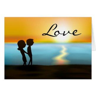 Sunset Beach Couple Love Valentine's Day Card