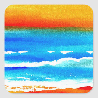 Sunset Beach CricketDiane Ocean Art Square Stickers
