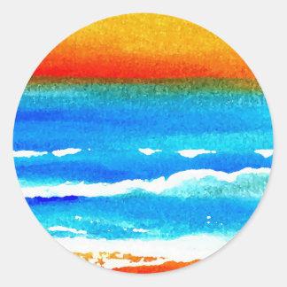 Sunset Beach CricketDiane Ocean Art Round Stickers