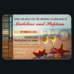 """sunset beach destination save the date magnets<br><div class=""""desc"""">Romantic destination save the date magnets with red starfish in the sand, white sea shells, paper boat and two sparkling glasses of champagne. The picture was taken during a beautiful sunset in the beach, with a professional photo camera and is very sharp and clean. Best for the beach wedding save...</div>"""