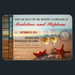 "sunset beach destination save the date magnets<br><div class=""desc"">Romantic destination save the date magnets with red starfish in the sand, white sea shells, paper boat and two sparkling glasses of champagne. The picture was taken during a beautiful sunset in the beach, with a professional photo camera and is very sharp and clean. Best for the beach wedding save...</div>"
