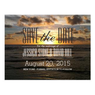 Sunset Beach Destination Wedding Save the Date Postcard