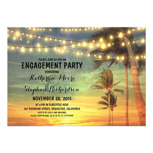 sunset beach engagement party string lights custom invitation