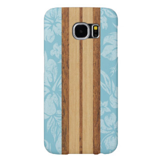 Sunset Beach Faux Wood Surfboard Hawaiian Samsung Galaxy S6 Case