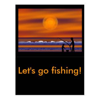 Sunset Beach - Fishing Postcard