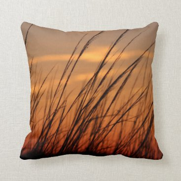 Beach Themed Sunset Beach Grass Throw Pillow