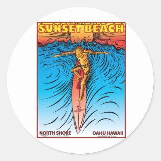 SUNSET BEACH HAWAII SURFING STICKER