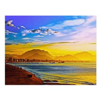 sunset beach mountain peace calm postcard