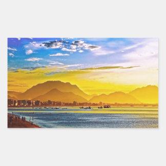sunset beach mountain peace calm rectangular sticker