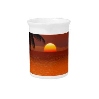 sunset beach oahu hawaii north shore postcard beverage pitcher