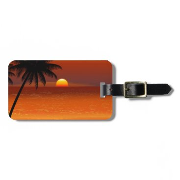 sunset beach oahu hawaii north shore postcard luggage tag