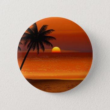 sunset beach oahu hawaii north shore postcard pinback button