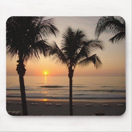 Sunset Beach Ocean Photography Art Mouse Pad Tree