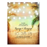 sunset beach & palm string lights save the date post cards