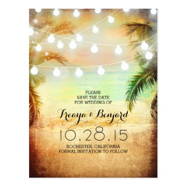 Beach Themed sunset beach & palm string lights save the date postcard