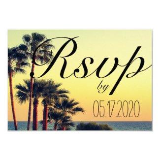 Sunset Beach Palm Tree Wedding RSVP Card