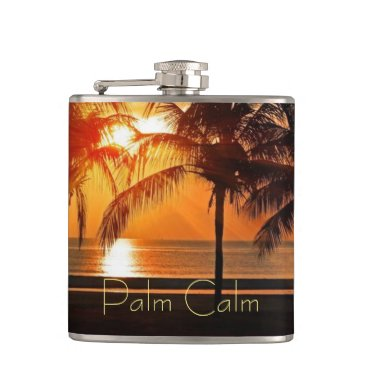 Beach Themed Sunset Beach, Palm Trees in Sand Yellow Oranges Flask