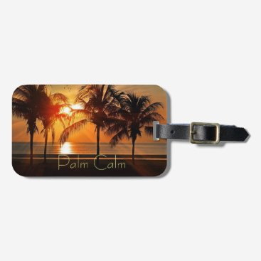 Beach Themed Sunset Beach, Palm Trees in Sand Yellow Oranges Luggage Tag