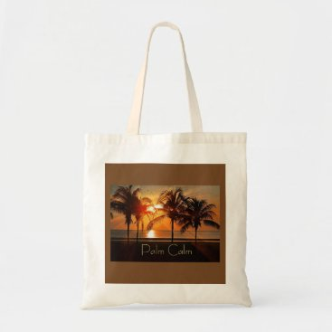 Beach Themed Sunset Beach, Palm Trees in Sand Yellow Oranges Tote Bag