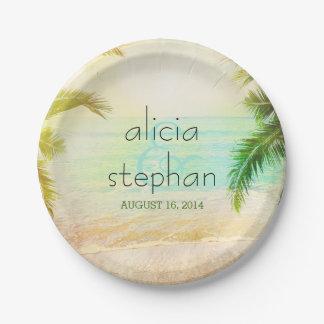 sunset beach palms paper plate