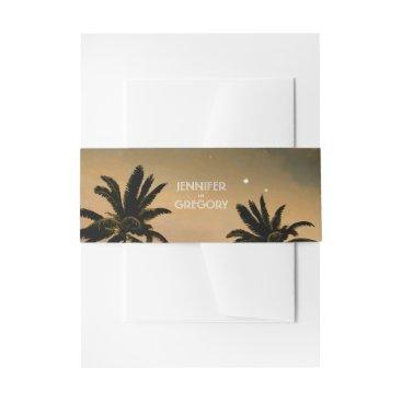 jinaiji Sunset Beach Palms Wedding Invitation Belly Band